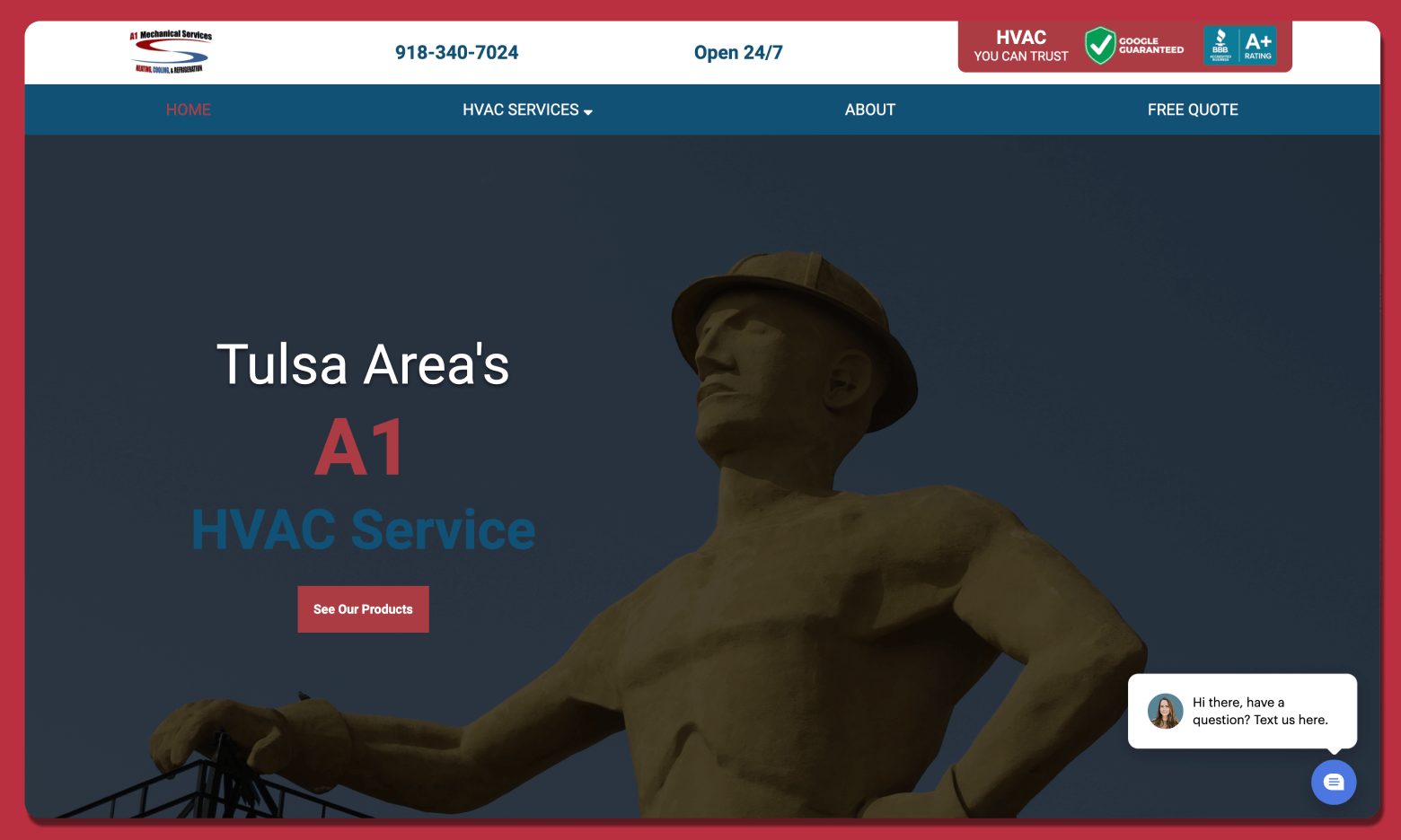 A1 Mechanical Services Mobile Website Preview