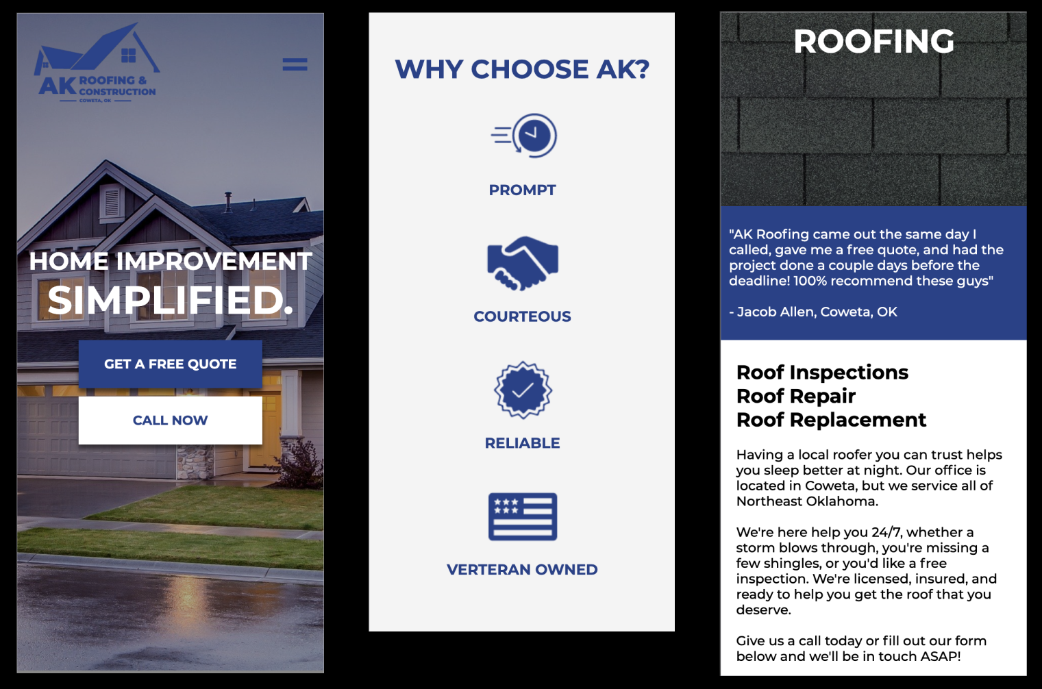 AK Roof Co. Mobile Website Preview