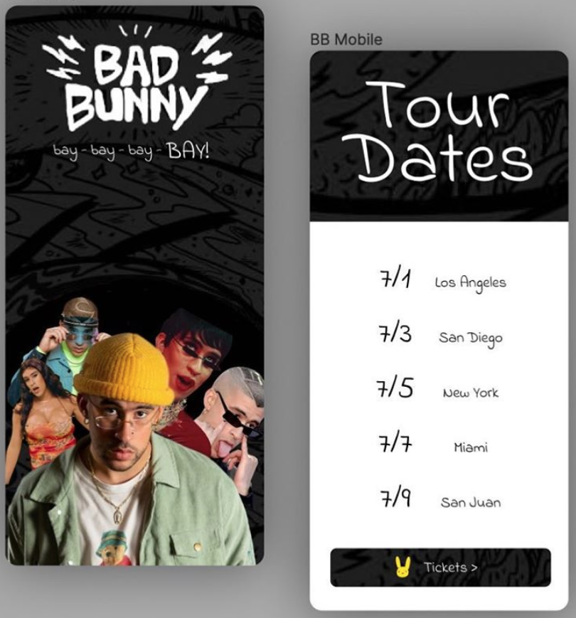 Bad Bunny Mobile Website Mockup