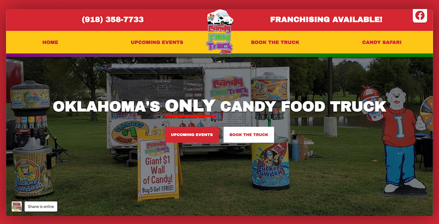 Candy Food Truck Mobile Website Preview