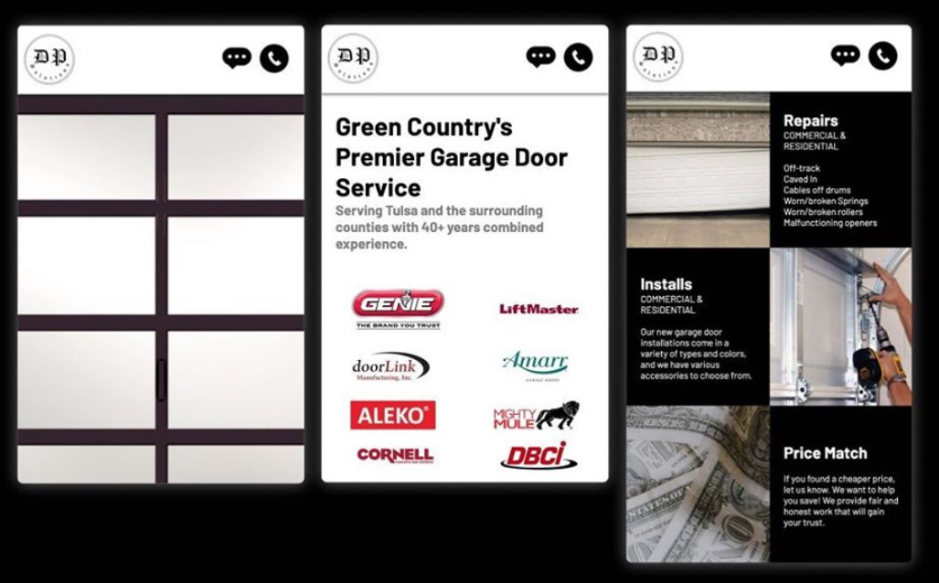 DP Door Solutions Desktop Website Preview