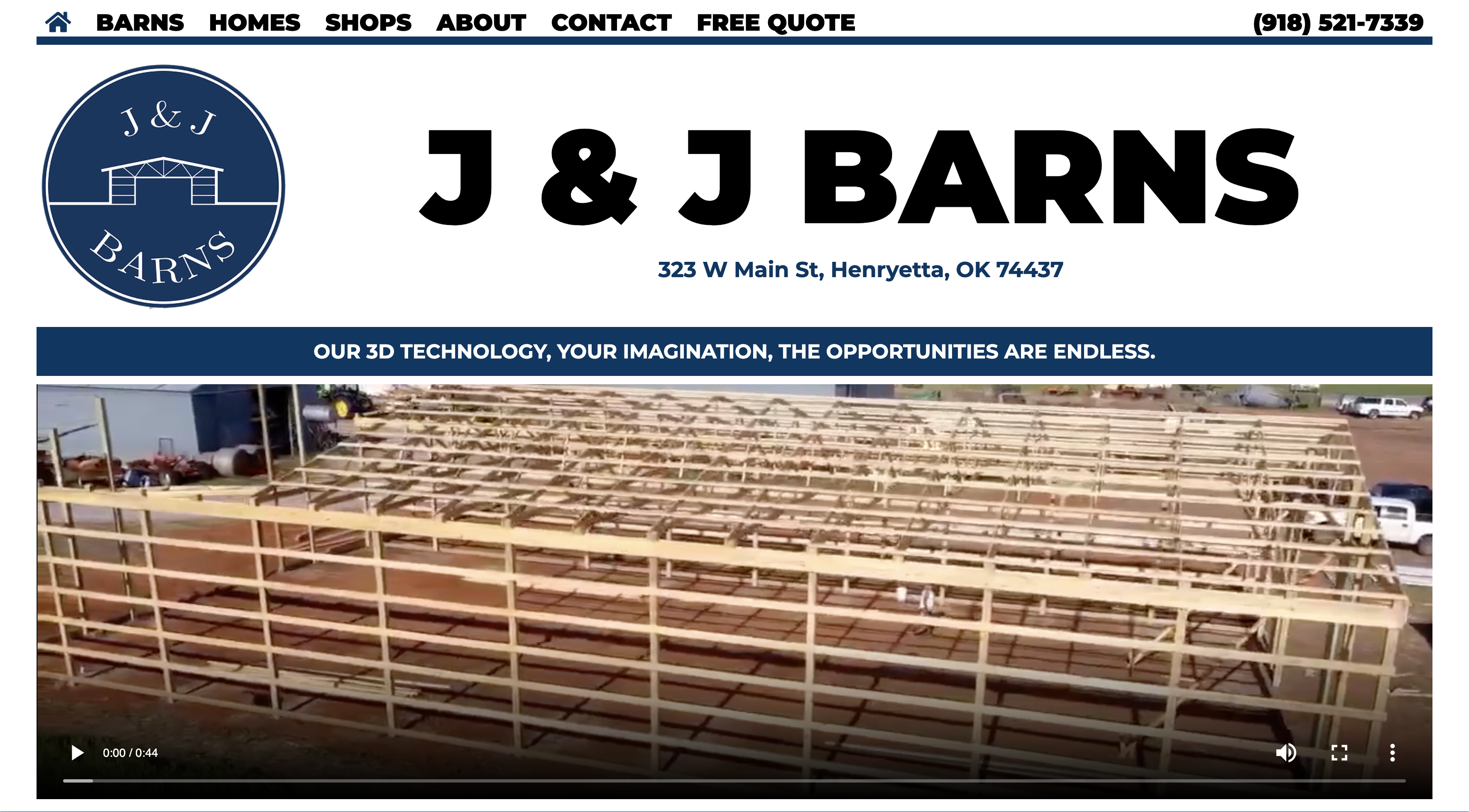 J&J Barns, Henryetta, OK Desktop Website Preview