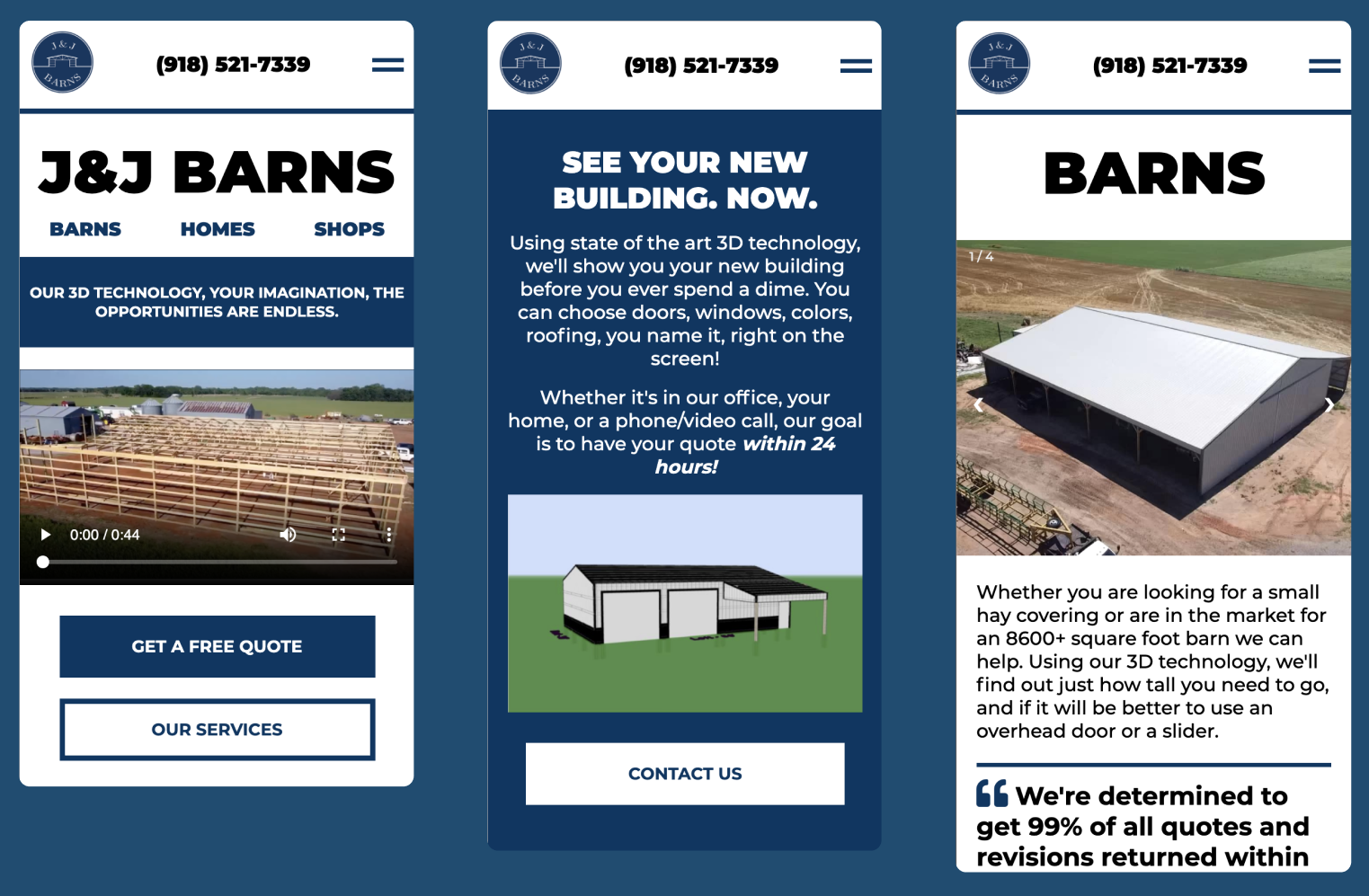 J&J Barns, Henryetta, OK Mobile Website Preview