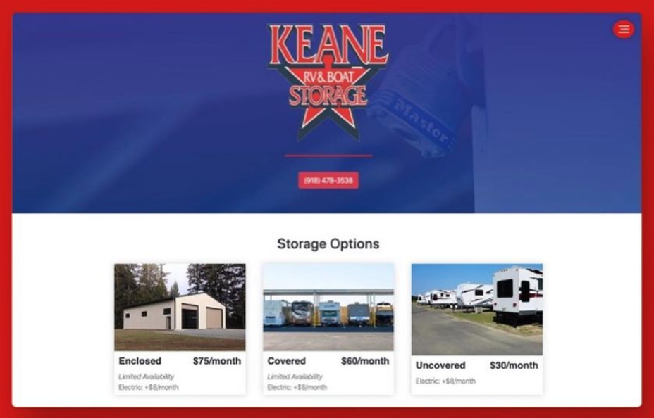 Keane Storage Desktop Website Preview