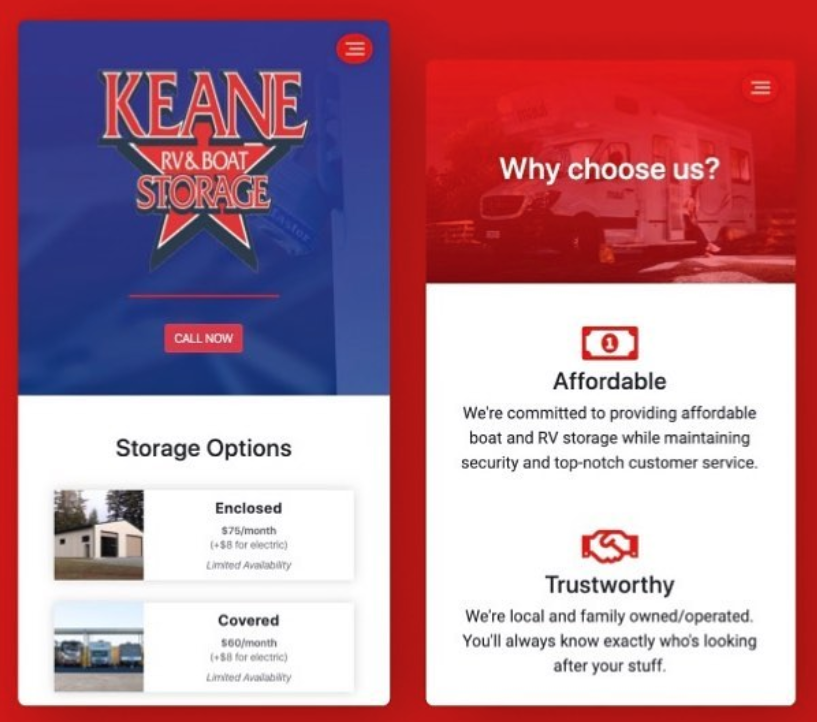 Keane Storage Mobile Website Preview