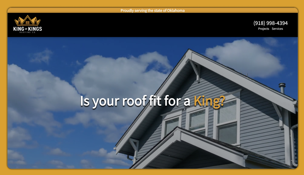 King of Kings Roofing Co. Desktop Website Preview
