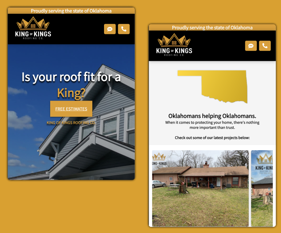 King of Kings Roofing Co. Mobile Website Preview