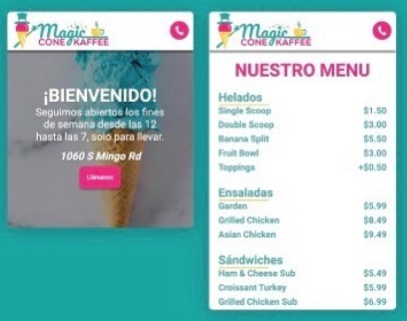 Magic Cone Kaffee Mobile Website Preview