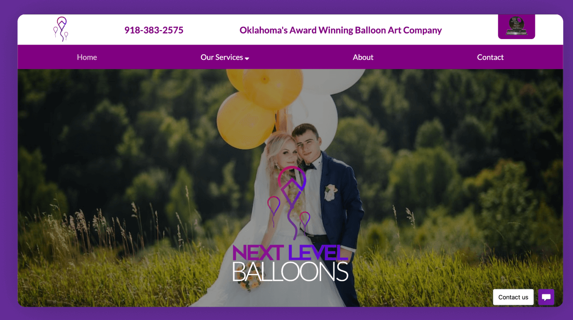 Next Level Balloons Desktop Website Preview