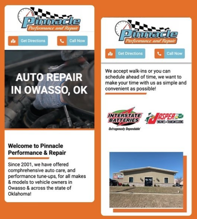 Pinnacle Performance & Repair Website Preview