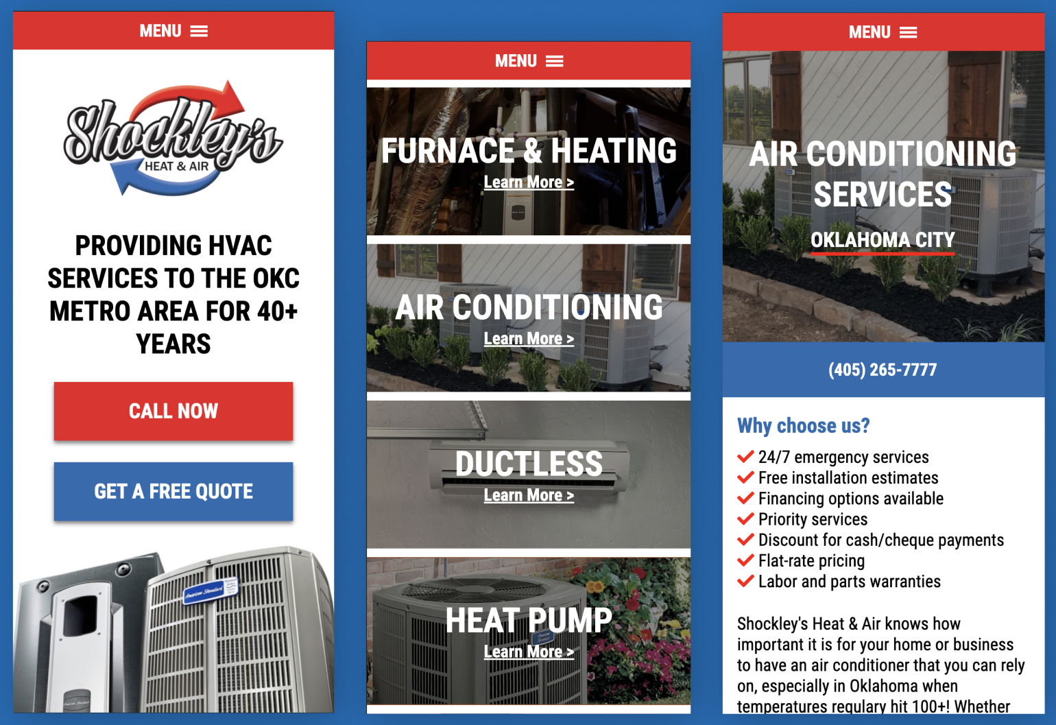 Shockleys Heat & Air Mobile Website Preview