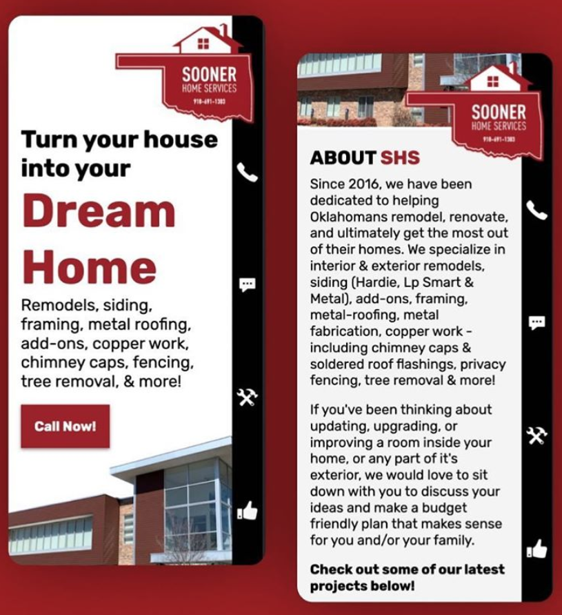 Sooner Home Services Mobile Website Preview