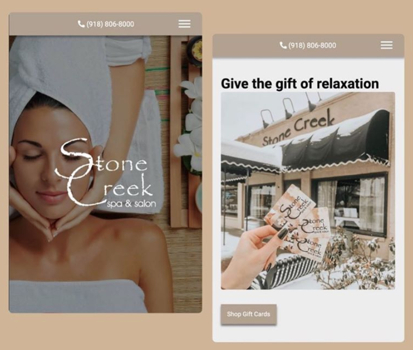 Stone Creek Spa & Salon Mobile Website Preview