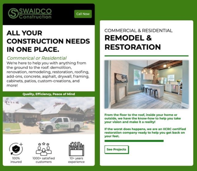 SwaidCo Construction Mobile Website Preview
