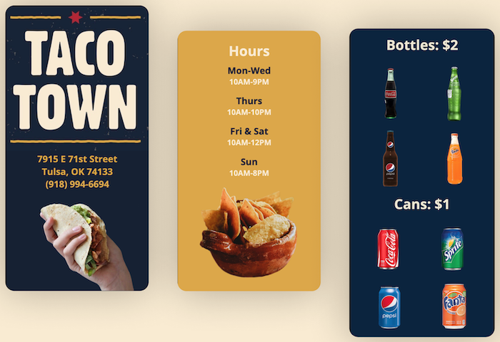 Taco Town Tulsa Mobile Website Preview