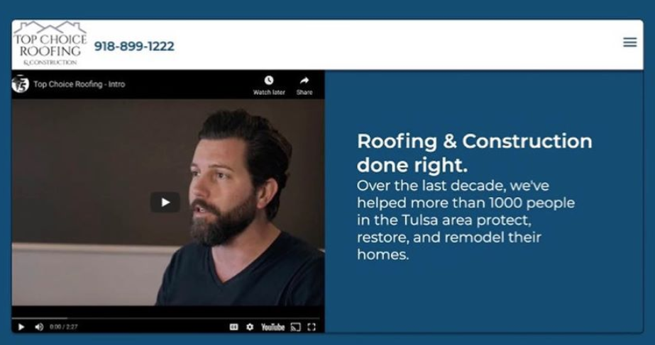 Top Choice Roofing & Construction Desktop Website Preview