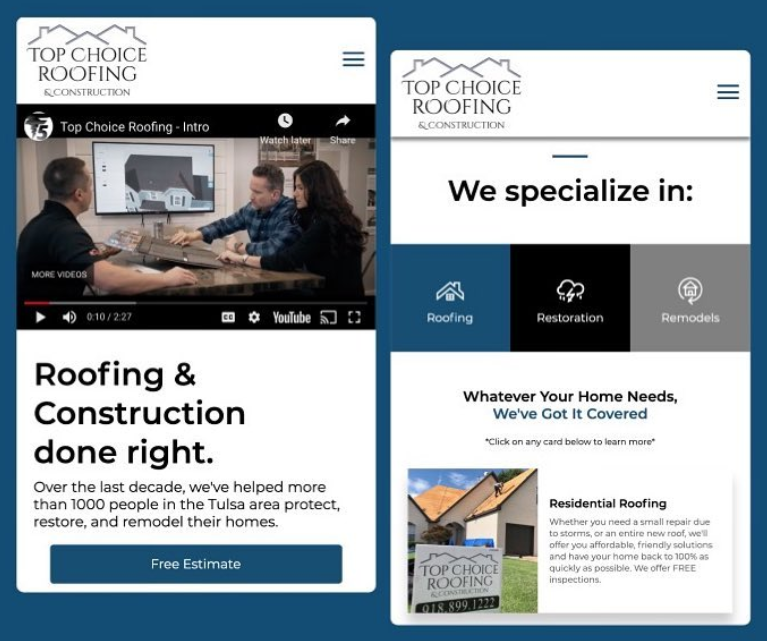 Top Choice Roofing & Construction Mobile Website Preview