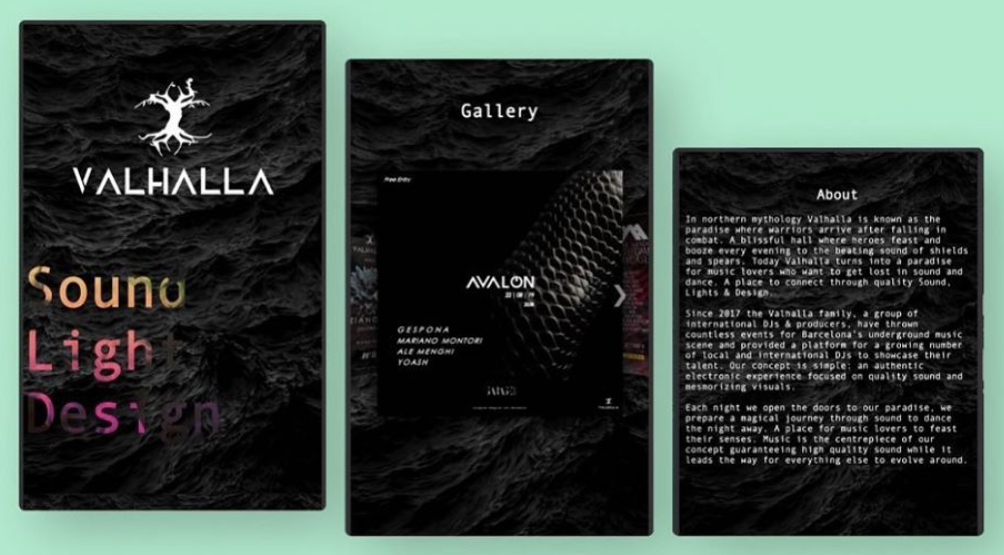 Valhalla Sound Mobile Website Preview